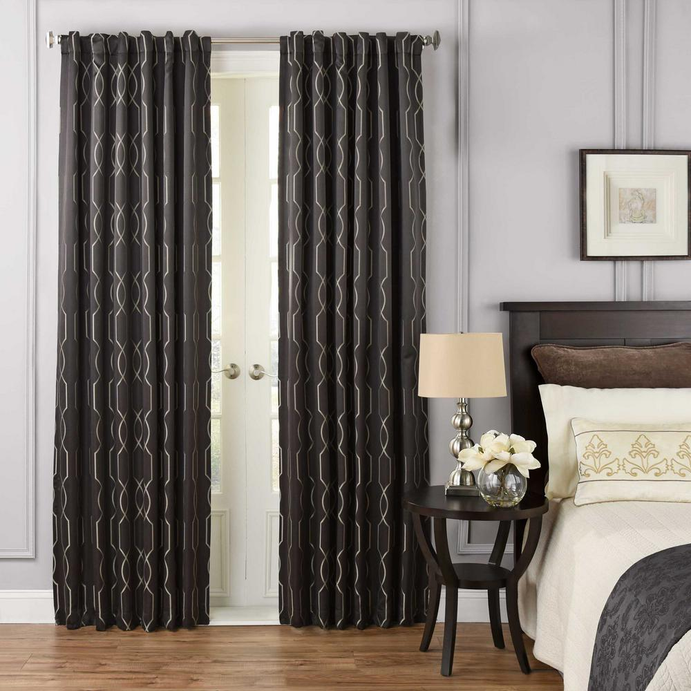 Beautyrest Yvon Blackout Window Curtain Panel in Raven - 52 in. W x 108 in. L