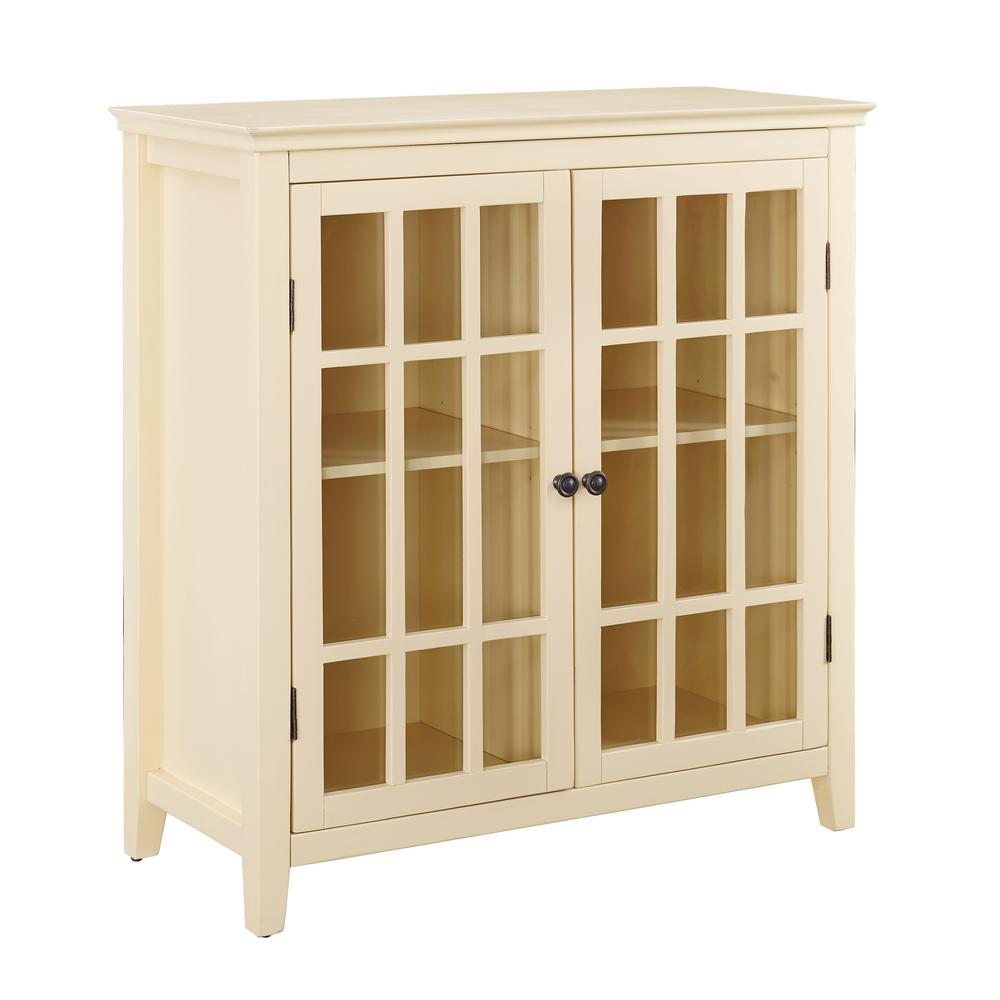 Bon Linon Home Decor Payton Pale Yellow Double Door Cabinet
