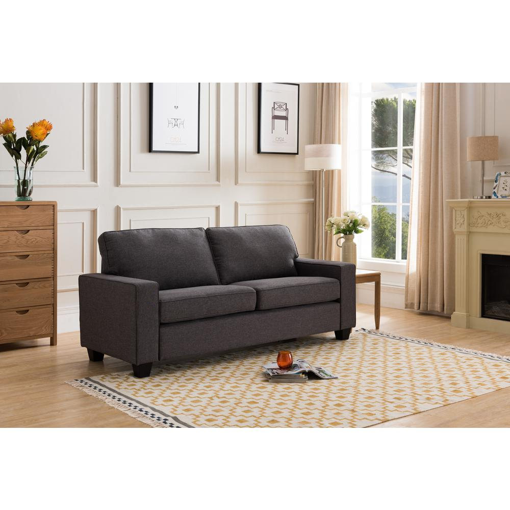 Crawford & Burke Naples Sea Gray Linen Sofa