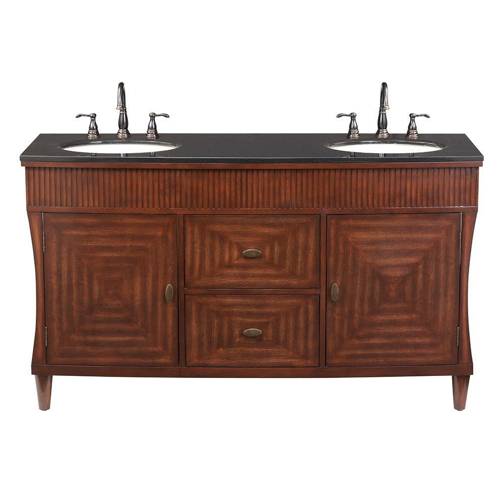 Home Decorators Collection Fuji 60 in. Double Vanity in Old Walnut with Granite Vanity Top in Black