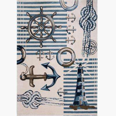 Bazaar Nautical Blue/Cream 5 ft. 2 in. x 7 ft. 2 in. Indoor Area Rug