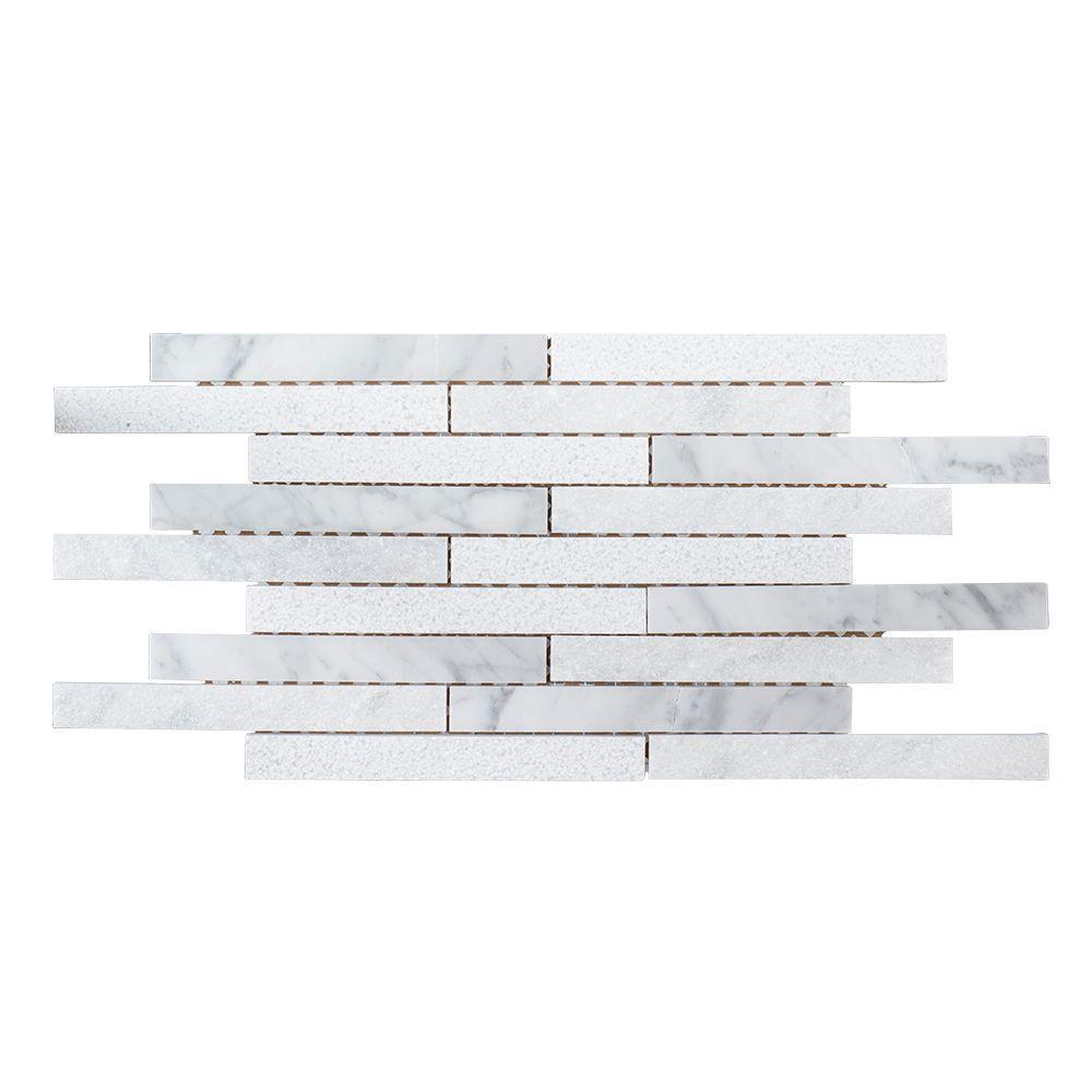 Dove Prairie 7-3/4 in. x 15-1/8 in. x 8 mm Marble Mosaic Tile
