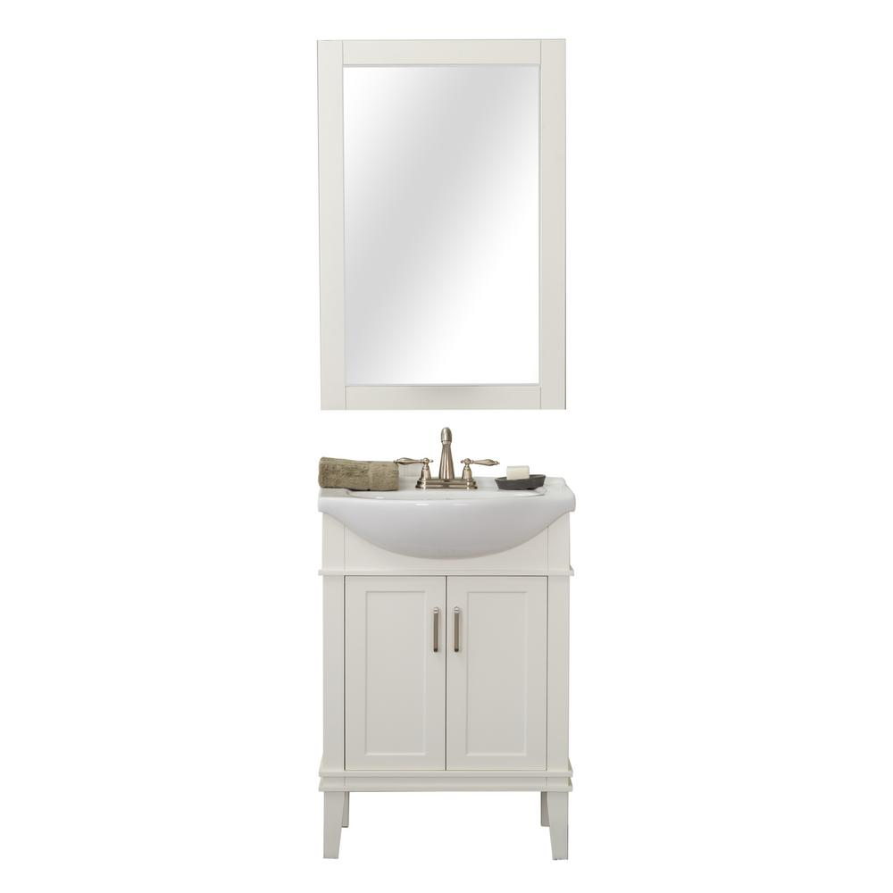 Seattle 24 in. W x 17.5 in. D x 34.75 in. H Vanity in White with Porcelain Vanity Top in White with White Basin