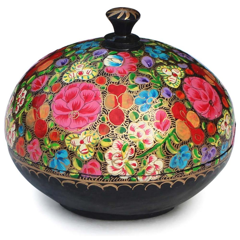 Floral Design Multi-color Round Jewelry Storage Keepsake Box