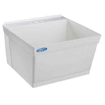 Mustee 23 in. x 23 in. Composite Wall Mount Laundry Tub