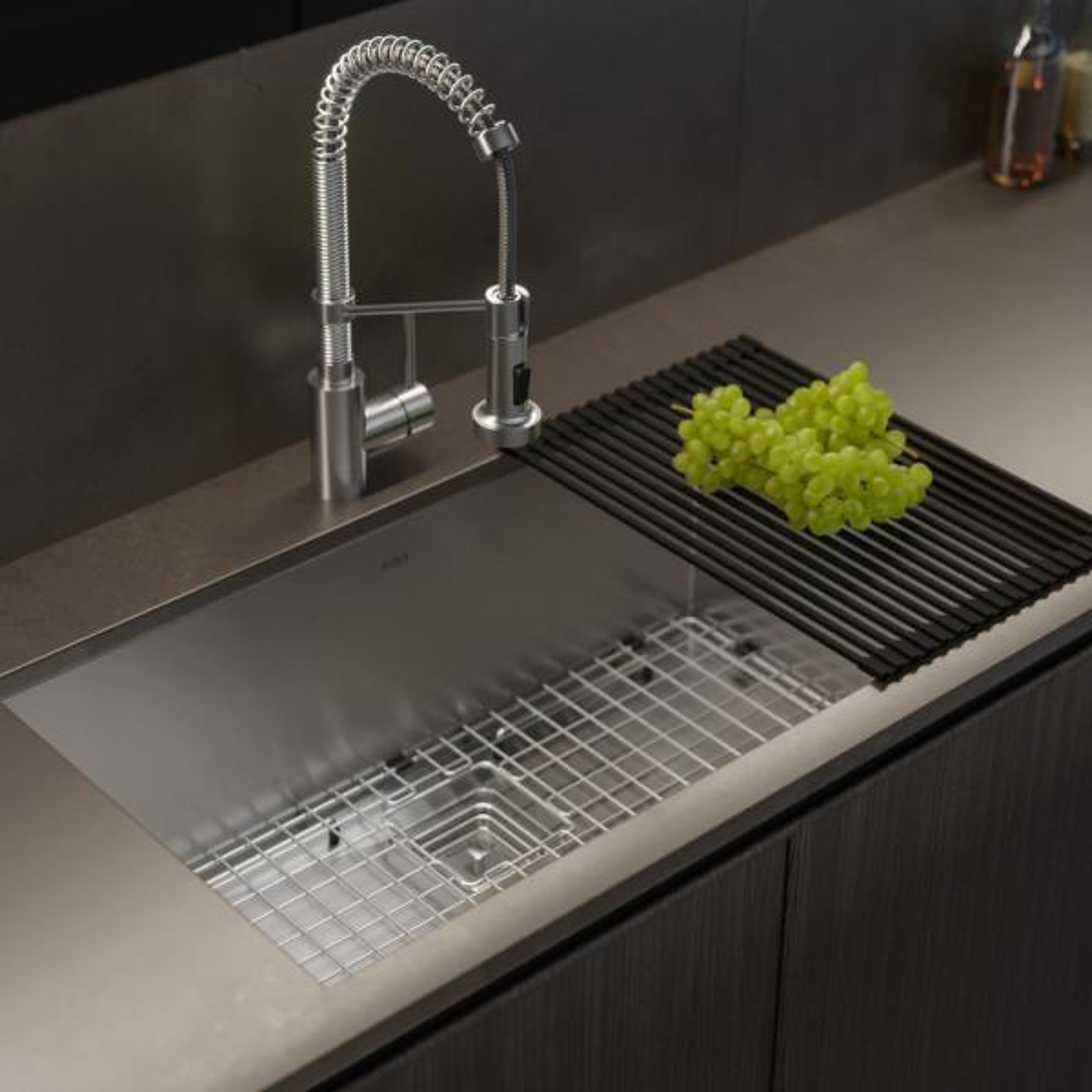 Kraus Pax Zero Radius 31 5in 16 Gauge Undermount Single Bowl Stainless Steel Kitchen Sink Khu32 The Home Depot