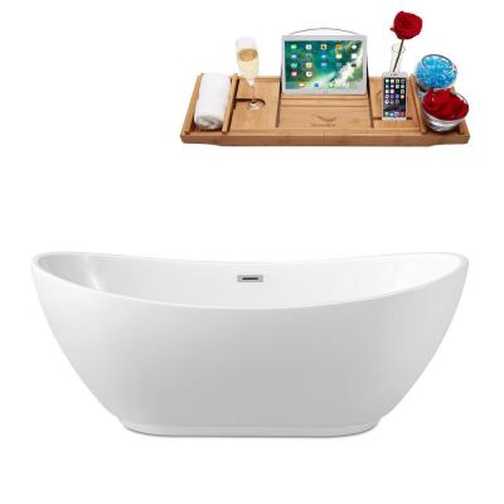 62.2 in. Acrylic Flatbottom Non-Whirlpool Bathtub in Glossy White
