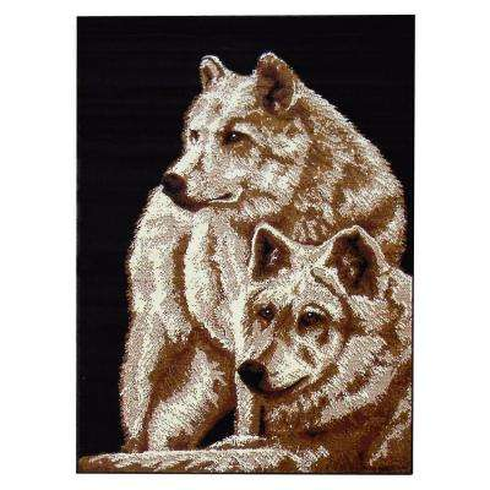 African Adventure Two Wolves Design Black 5 ft. 2 in. x 7 ft. Indoor Area Rug