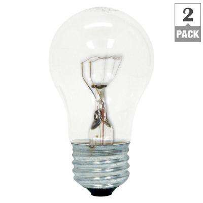 60-Watt Incandescent A15 Ceiling Fan Double Life Clear Light Bulb (2-Pack)