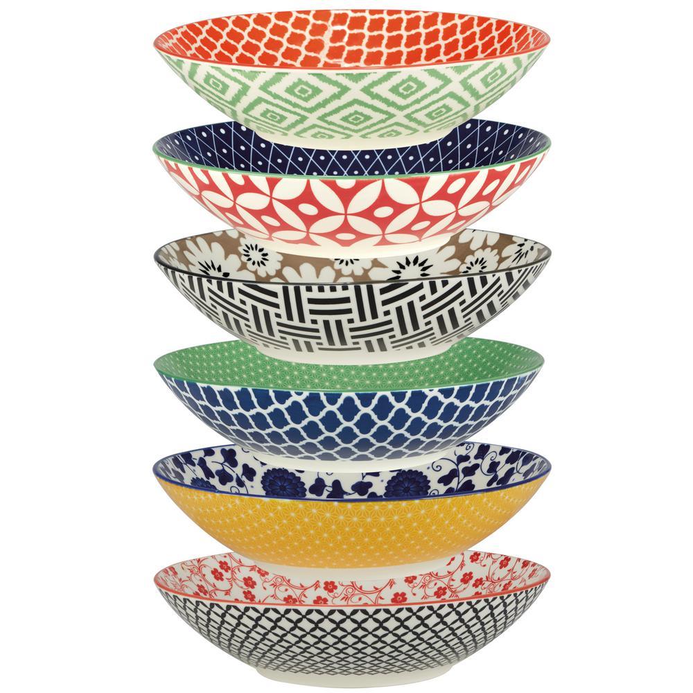 Soho Multicolored Porcelain 9 in. 32 oz. Dinner Bowls (Set of 6)