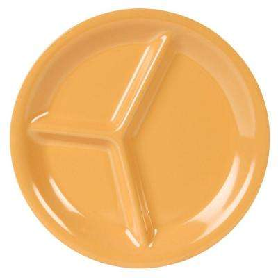 Coleur 10-1/4 in. 3-Compartment Plate in Yellow (12-Piece)