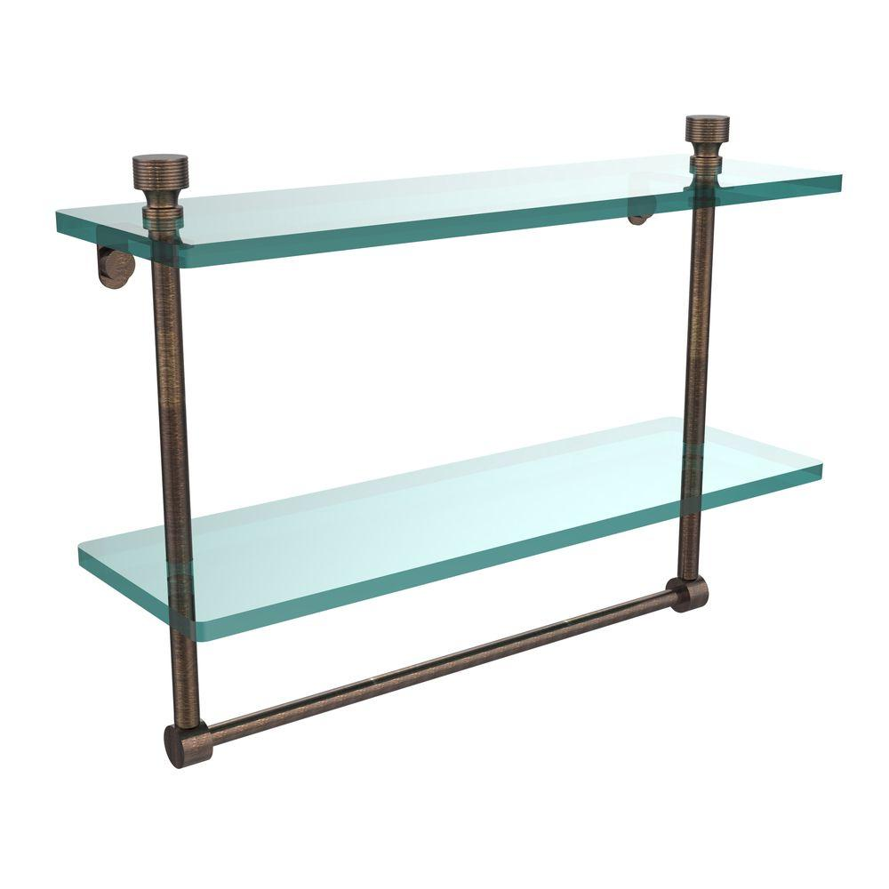 Allied Brass Foxtrot 16 in. L  x 12 in. H  x 5 in. W 2-Tier Clear Glass Bathroom Shelf with Towel Bar in Venetian Bronze