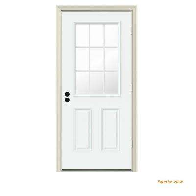 30 in. x 80 in. 9 Lite White Painted Steel Prehung Left-Hand Outswing Front Door w/Brickmould