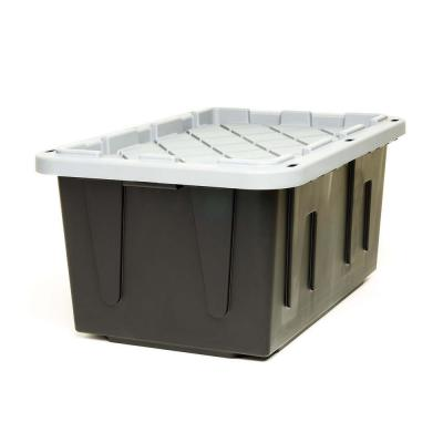 EcoStorage 27 Gal. Tough Container, Black Base with Grey Lid (Set of 4)