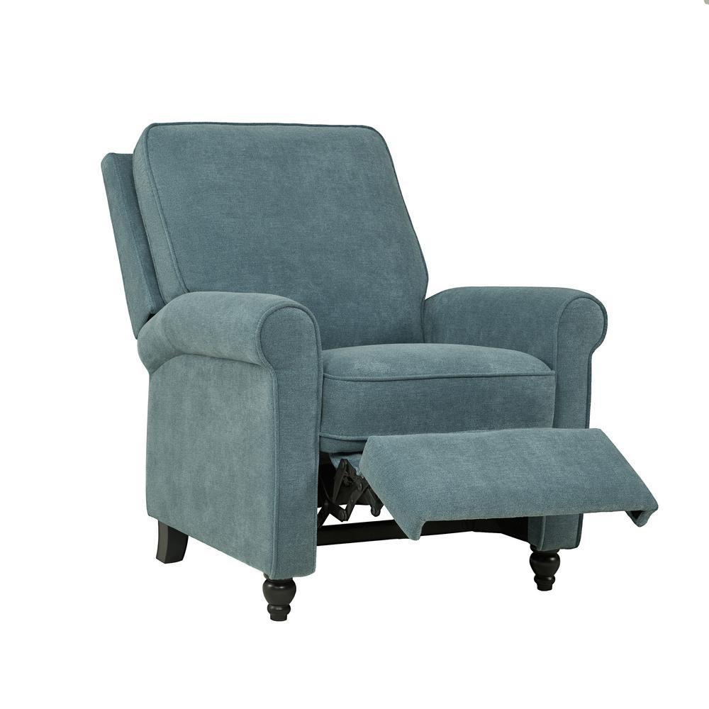 Caribbean Blue Chenille Push Back Recliner Chair