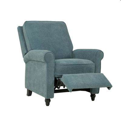 Caribbean Blue Chenille Push Back Recliner Chair