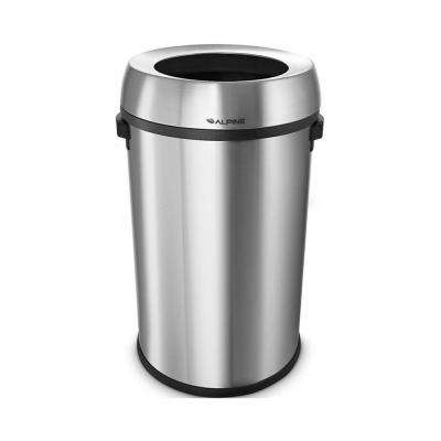 17 Gal. Stainless Steel Round Open Top Trash Can