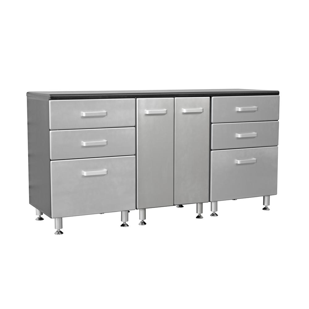 Cool Tuff Stor Metallic Series 36 In H X 71 In W X 21 In D Work Bench With 6 Sturdy Drawers And 2 Door Storage Cabinet Gmtry Best Dining Table And Chair Ideas Images Gmtryco