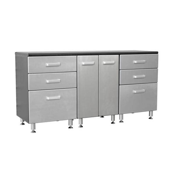 Metallic Series 36 in h x 71 in. W x 21 in. D Work Bench with 6-Sturdy Drawers and 2-Door Storage Cabinet