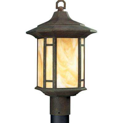 Arts and Crafts Collection Weathered Bronze 1-Light Outdoor Post Lantern