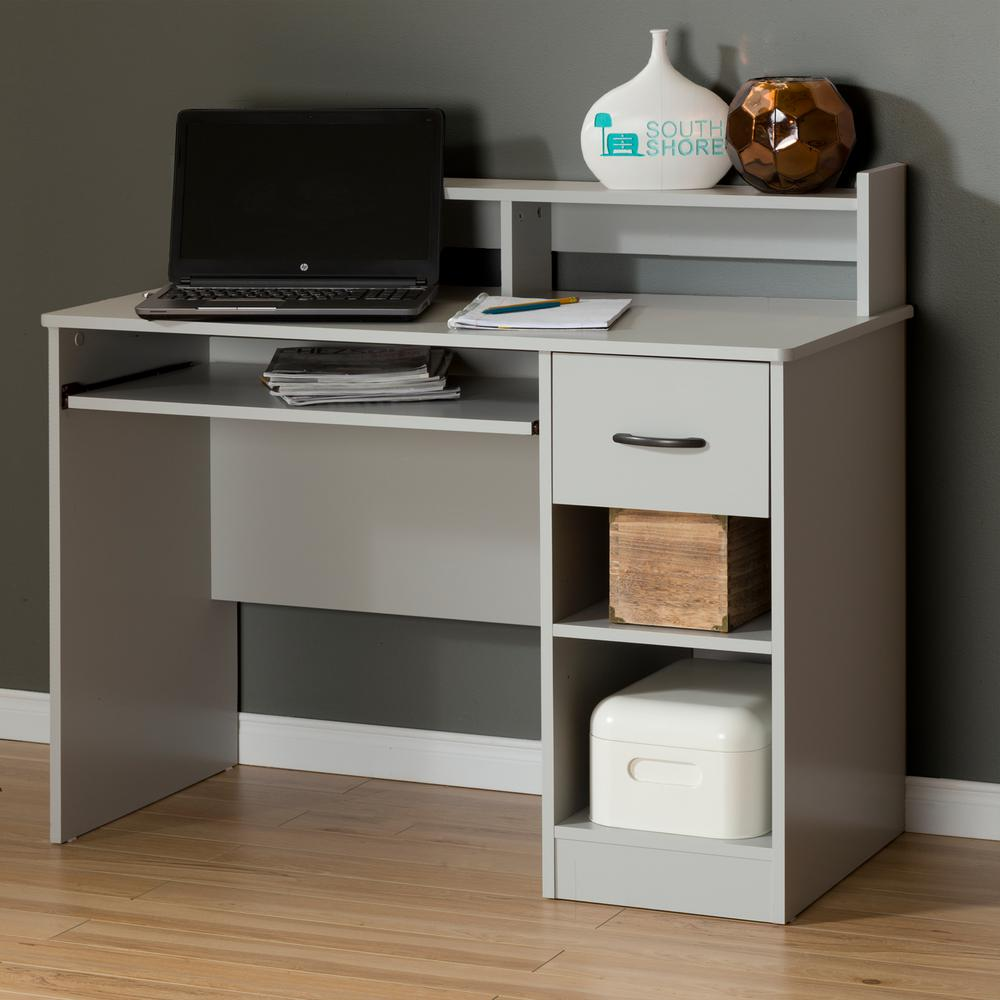 South Shore Axess Soft Gray Desk with Shelving