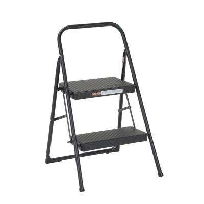 2-Step Steel Folding Step Stool Ladder with 200 lb. Load Capacity Type III Duty Rating in Black