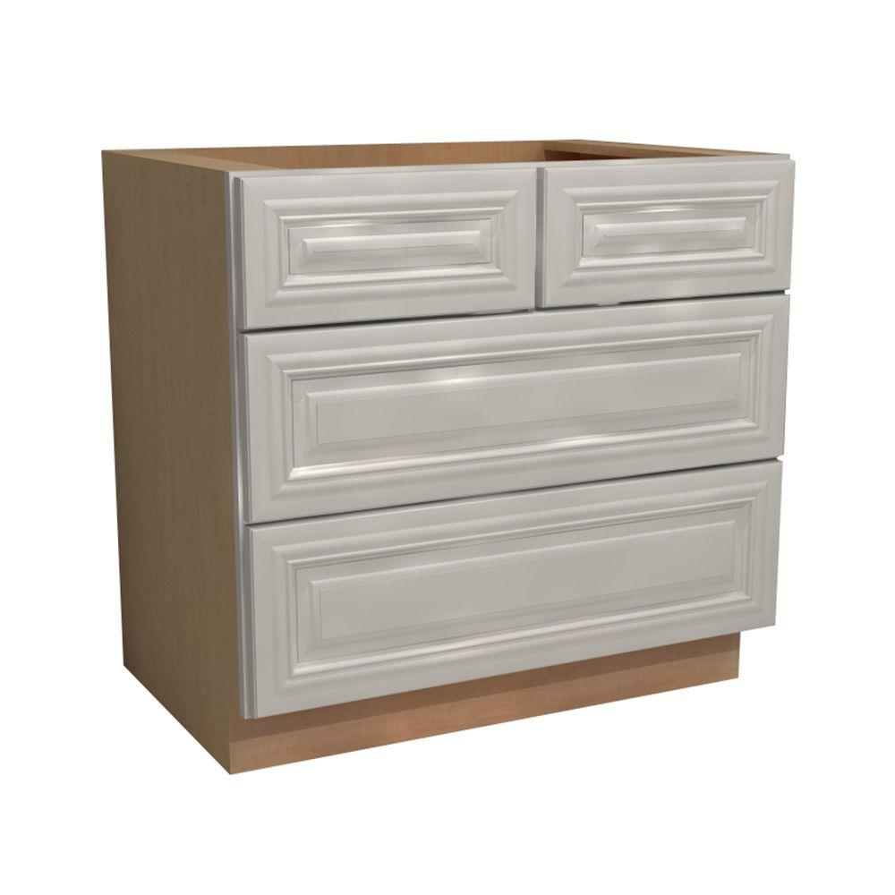 Coventry Embled 36x34 5x24 In 4 Drawers Base Kitchen Cabinet Pacific White
