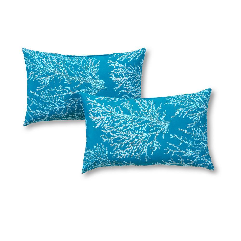 Sea Coral Lumbar Outdoor Throw Pillow (2-Pack)