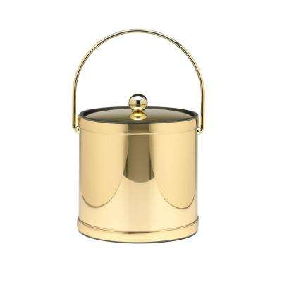3 Qt. Polished Brass Mylar Ice Bucket with Bale Handle, Bands and Metal Cover
