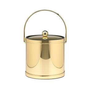 Kraftware 3 Qt. Polished Brass Mylar Ice Bucket with Bale Handle, Bands and Metal Cover by Kraftware