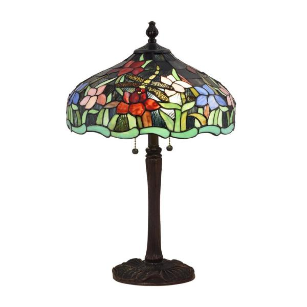 24.5 in. Antique Bronze Table Lamp with Hand Rolled Art Glass