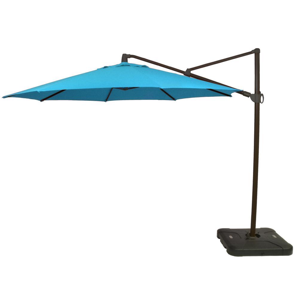 Hampton Bay 11 ft. Aluminum Cantilever Tilt Patio Umbrella in Seaglass with Black Pole