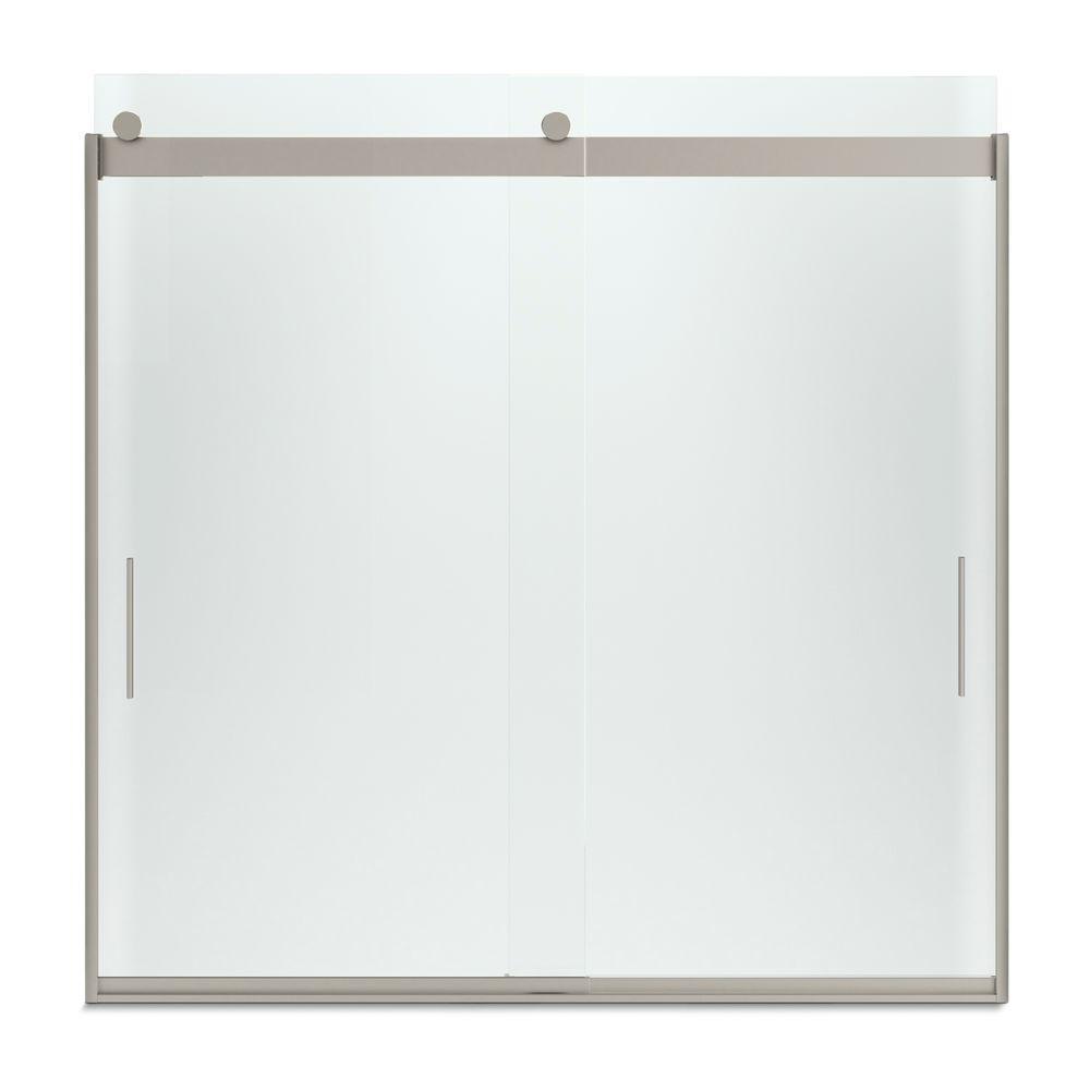 KOHLER Levity 59 in. x 59.75 in. Semi-Frameless Sliding Tub Door in Nickel with Handle
