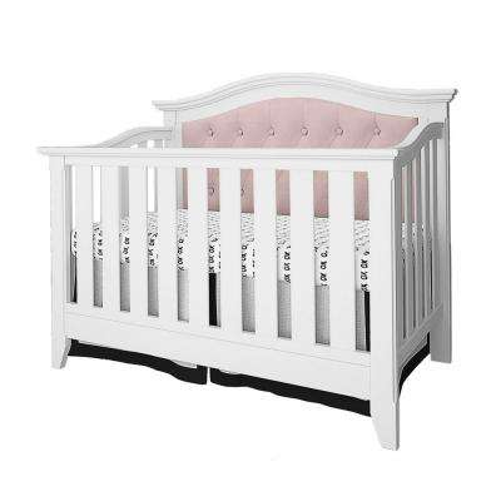 Magnolia White Pink Linen Upholstered Convertible Crib