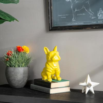 9 in. H Dog Decorative Figurine in Yellow Gloss Finish