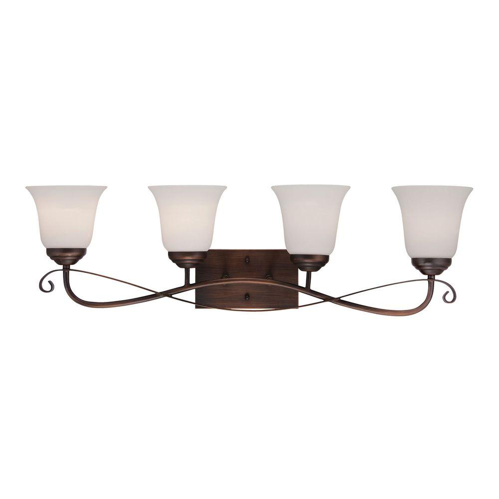 Millennium Lighting Light Rubbed Bronze Sconce With Etched White - 4 light bathroom sconce