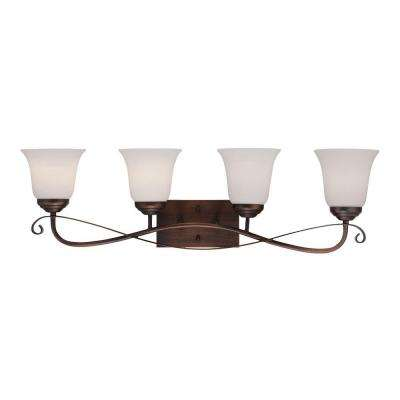 4-Light Rubbed Bronze Sconce with Etched White Glass