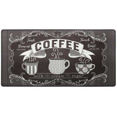 Cook N Comfort Brown Brewed Coffee 20 in. x 39 in. Kitchen Mat