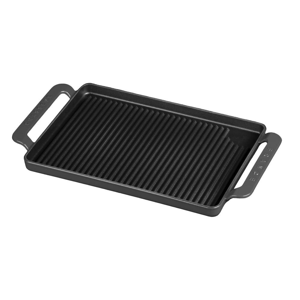 14 in. Caviar-Grey Rectangular French Enameled Cast Iron Grill Pan with