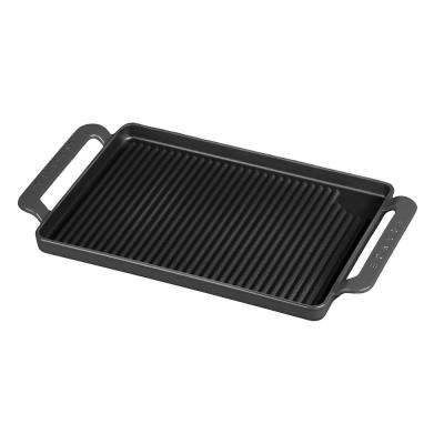 14 in. Caviar-Grey Rectangular French Enameled Cast Iron Grill Pan with Handles