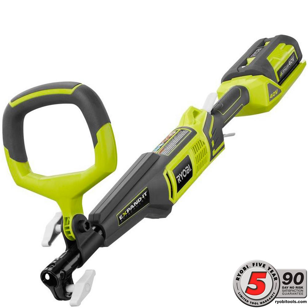 RYOBI Expand-It 40-Volt Lithium-Ion Cordless Attachment Capable Trimmer Power Head - 2.6 Ah Battery and Charger Included
