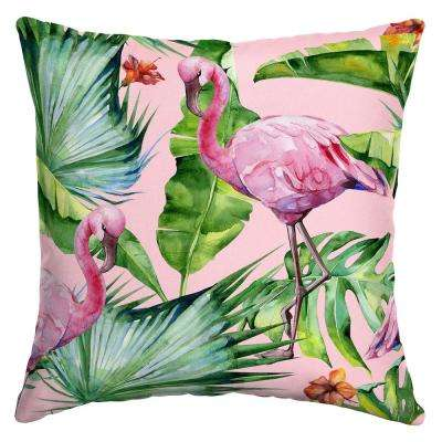 16 in. x 16 in. Fenicottero Watercolor Flamingo Square Outdoor Throw Pillow