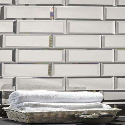 3 in. x 12 in. Echo Silver Glass Mirror Peel and Stick Decorative Wall Tile Sample