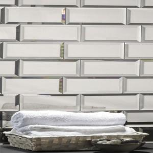 "Subway 3"" x 12"" Silver Gray Beveled Glossy Glass Mirror Peel & Stick Decorative Bathroom Wall Tile Backsplash Sample"