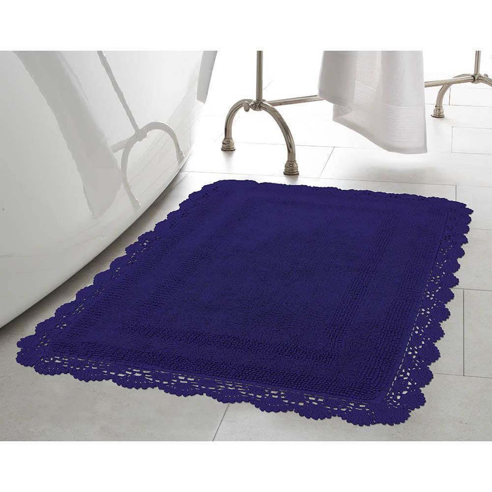 Crochet 100% Cotton 21 in. x 34 in. Bath Rug in Indigo