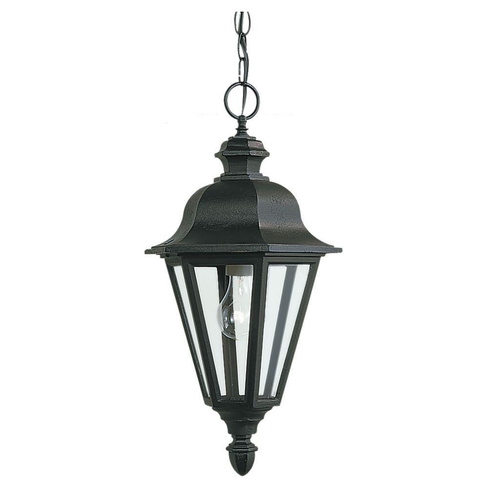 Sea Gull Lighting Brentwood 1-Light Black Outdoor Pendant