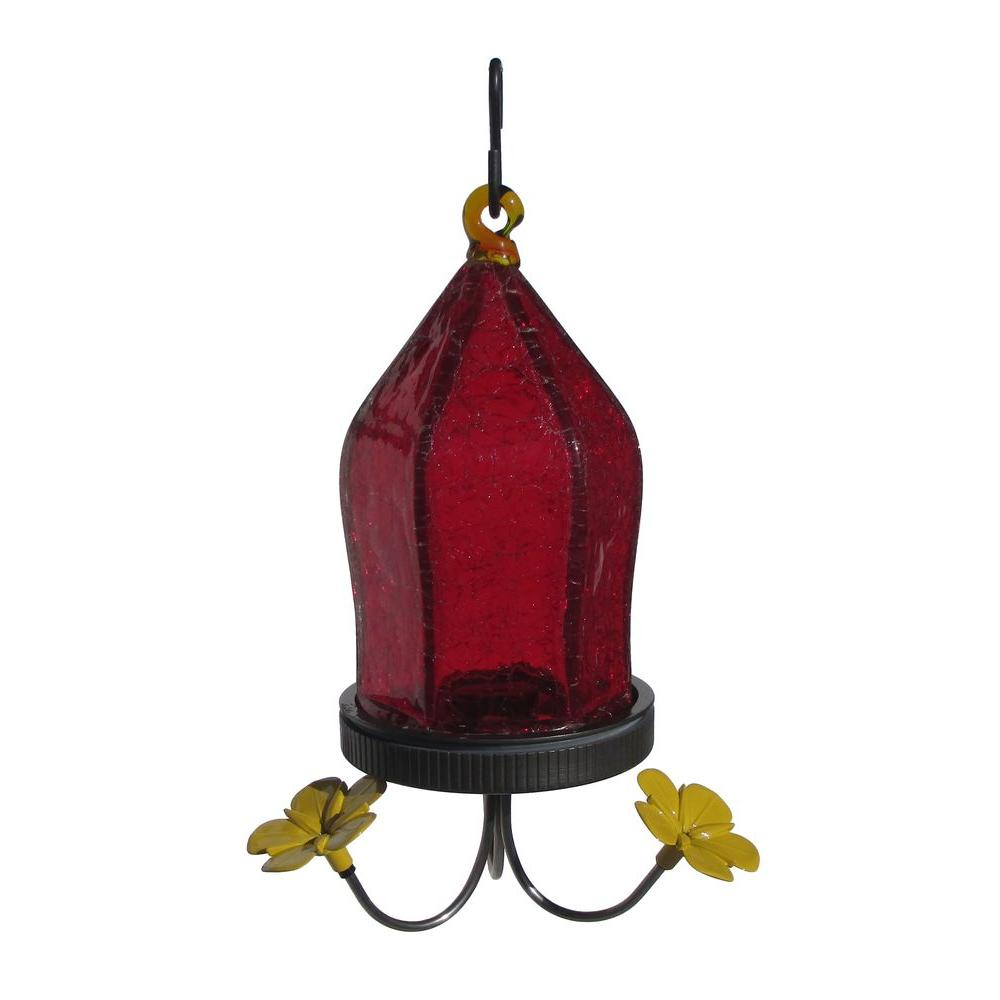 Red Crackle Glass Hummingbird Feeder