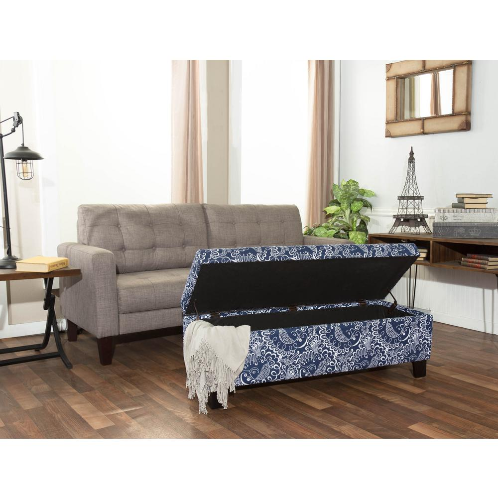 Crawford U0026 Burke Berkley Blue And White Paisley Pattern Linen Rectangular Storage  Bench 201509 D2   The Home Depot