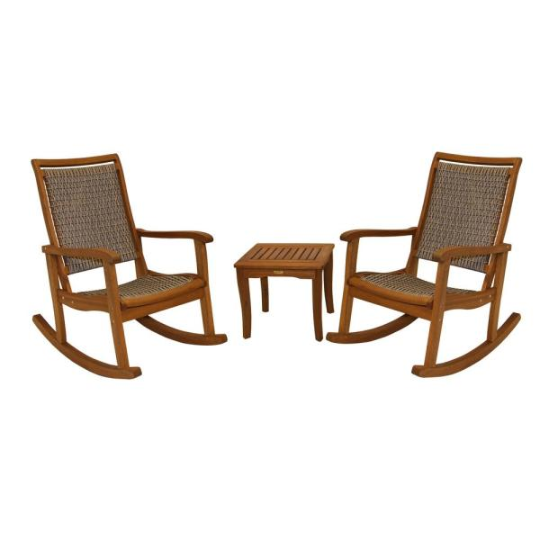 3-Piece Driftwood Grey Wicker and Eucalyptus Outdoor Rocking Chair Set with Square Accent Table