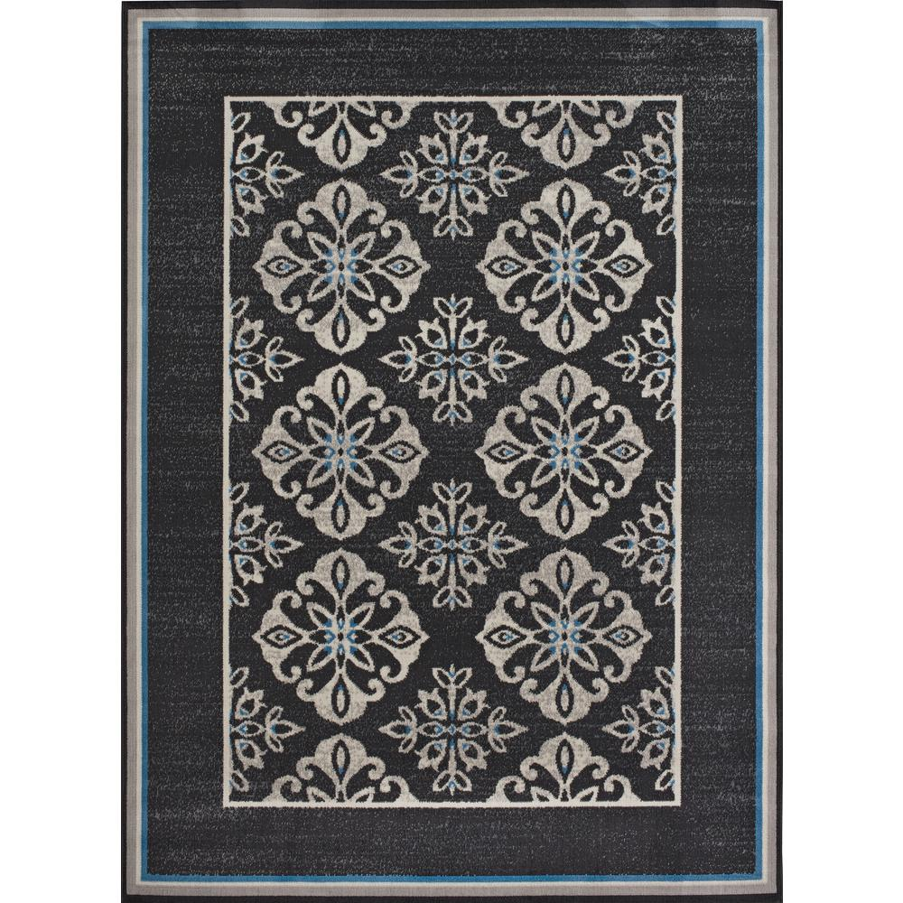 Medallion Blue Border Cream/Grey 5 ft. x 7 ft. Indoor/Outdoor Area